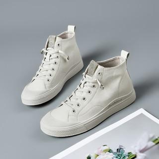 奥康 女鞋2021春季新款真皮高帮板鞋韩版潮流百搭小白鞋