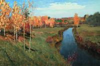 雅昌 列维坦 《金色秋天》136×92cm装饰画 油画布