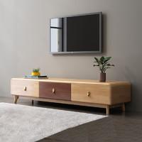 北欧电视柜全实木地柜客厅橡胶木原木现代简约小户组合柜酒柜