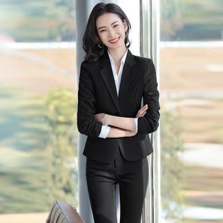 高阶商务 春季新品西装纯色通勤套装女式时尚休闲两件套气质套装