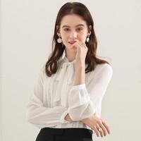 百图2021春新品优雅蝴蝶结绑带纯色通勤女士衬衫