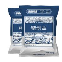 海湾 无碘盐食用精制盐 400g*6袋
