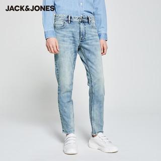 JackJones杰克琼斯outlets秋男新疆棉修身牛仔复古浅色牛仔九分裤