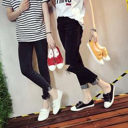 人本夏季魔术贴小白鞋女百搭皮面浅口平底一脚蹬懒人鞋透气帆布鞋