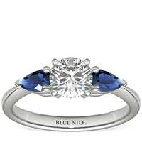 Blue Nile 20327 女士梨形18K白金戒指 银色 HK6 银色