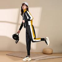 拉夏贝尔旗下女款时尚运动套装拼接撞色拉链上衣束口裤两件套 黄色 S