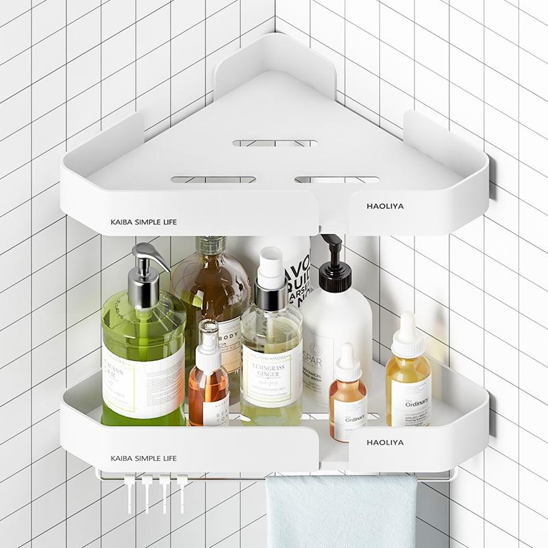 凯霸 免打孔浴室三角置物架洗手间卫生间厕所墙上转角壁挂洗澡间收纳架 单层-墙角款-白色-无钩