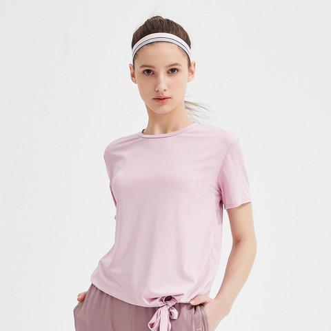 森马夏季新款时尚圆领运动服跑步健身服网红短袖瑜伽服女士