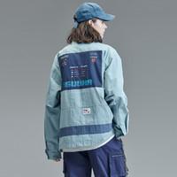 GUUKA&吃豆人联名多口袋工装风衣男女同款宽松青少年风衣外套 雾蓝 M