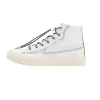 WARRIOR 回力 女士高帮帆布鞋 WXY-A767G 白色 34