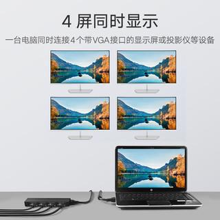 绿联 vga分配器一分四1进4出台式机机顶盒投影仪显示器高清视频分频器一进四出笔记本电脑多屏幕扩展器分屏器