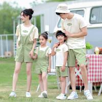 一家四口休闲亲子装21年夏季新款男女儿童短袖上衣背带裤子套装