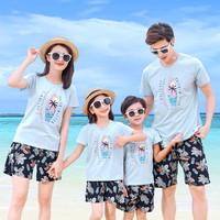 一家三口亲子母女装2021夏季新品男女大童海边休闲短袖套装薄