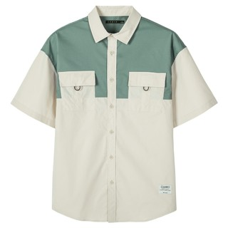 Semir 森马 夏季新款宽松工装风撞色衬衣个性大口袋外套短袖衬衫男