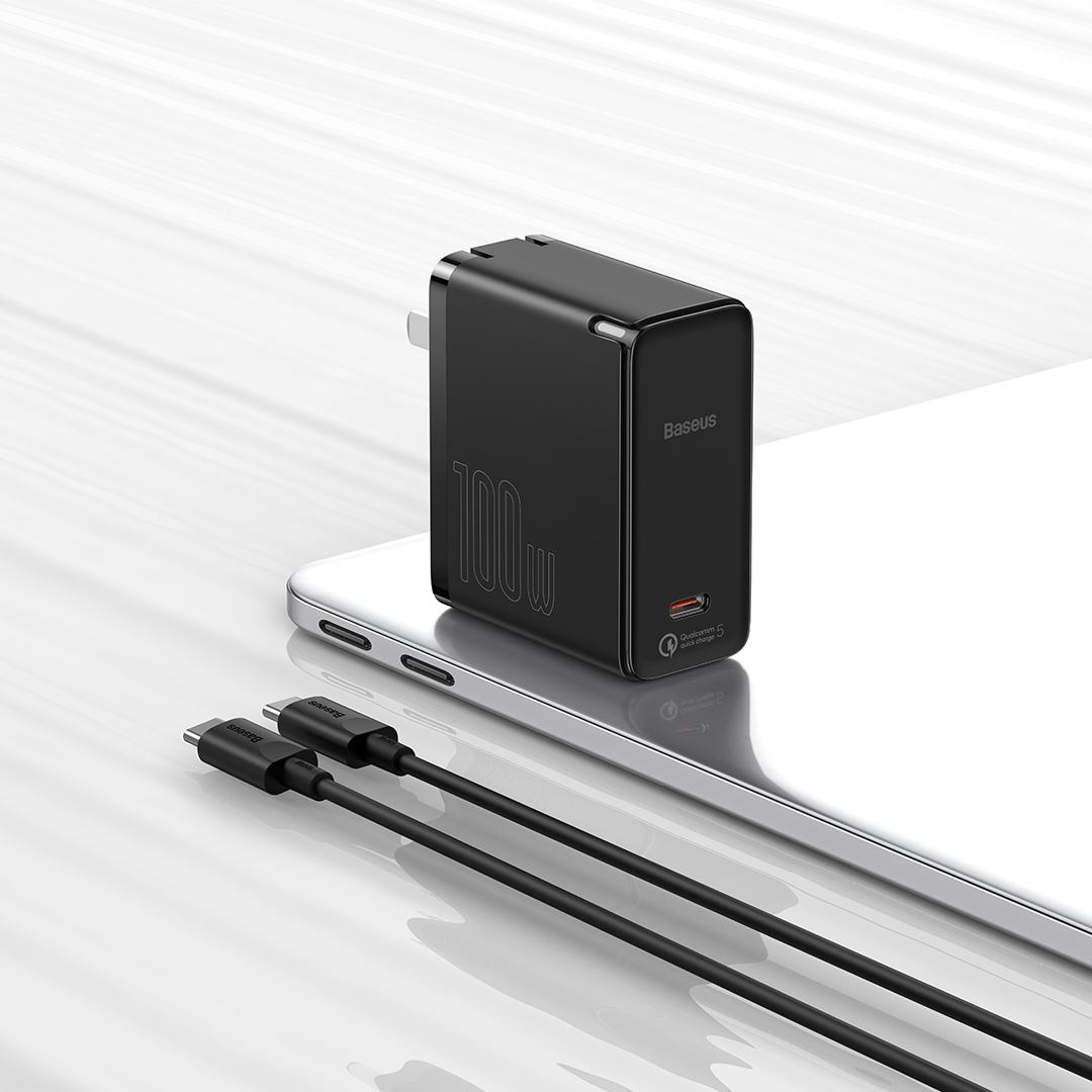 BASEUS 倍思 GaN2氮化镓手机充电器 Type-C 100W+双Type-C 数据线 1.5m 黑色