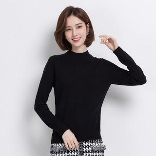 纯羊毛毛衣女2020秋冬新款简约纯色百搭打底衫保暖女式羊毛衫