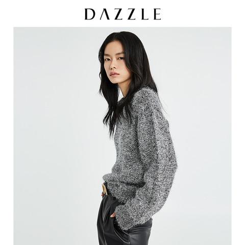 DAZZLE地素奥莱 冬新款亮丝毛衣宽松外穿针织衫女2G4E405