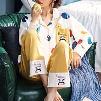 莫代尔 春季换新女士睡衣休闲可爱舒秋季长袖女士家居服 白色 M