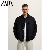 ZARA 新款 男装 口袋饰亚麻衬衫外套 00706449800