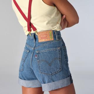 Levi's 李维斯 Pokémon联名系列 女士牛仔背带短裤 59190-0002