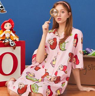 LED'IN 乐町 玩具总动员IP系列 女士印花翻领睡裙 CLFAA3201