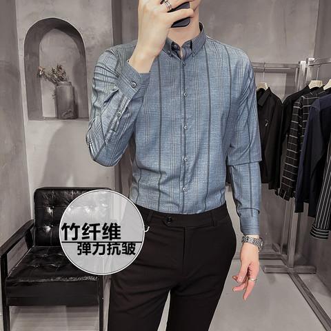 春季新款男士条纹长袖衬衫修身潮流职业正装白衬衣商务休闲寸衫男