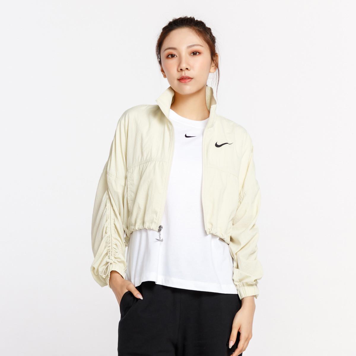 耐克 女款丝质顺滑时尚百搭长袖女式短款外套 米黄色 XL