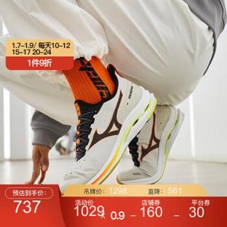 Mizuno美津浓男女透气运动跑步鞋WAVE RIDER NEOJ1GC2078 10/白色/黑色/橙色 42