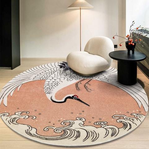 佳佰 美式地毯 客厅卧室床边茶几 圆形钢琴地垫现代简约轻奢大面积轻奢 新中式 仙鹤150*150