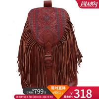 Artka阿卡冬季女復古款民族流蘇繡花斜背頭層羊皮單肩包DE15055C