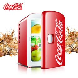 可口可乐 车载冰箱车家两用 便携小冰箱迷你宿舍小冰箱12V 冷暖箱 4L红色