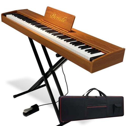 博仕德 88键便携式电钢琴专业演奏 力度键-原木色(折叠琴架+大礼包+琴包)