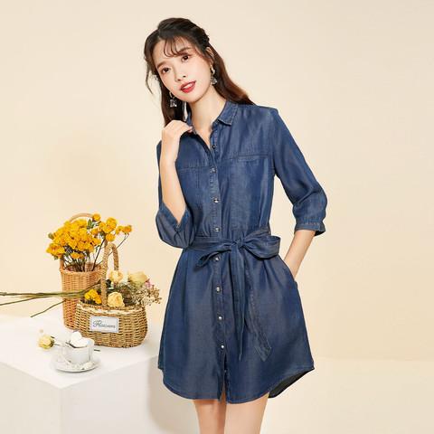 早春莱赛尔牛仔天丝裙子拉夏贝尔旗下2021女款收腰长袖连衣裙