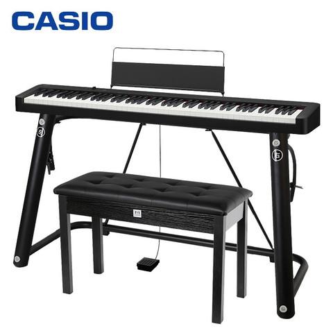 卡西欧(CASIO)电钢琴CDP-S100BK 88键重锤电子钢琴便携双电时尚家庭款(黑色单机+琴架琴凳礼包)