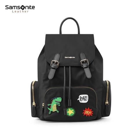新秀丽双肩背包女书包 Samsonite时尚休闲背包 个性翻盖印花背包TX2 黑色