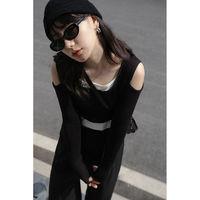Morjin露肩設計性感修身針織衫女韓版小眾網紅短款上衣