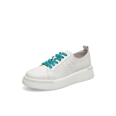 天美意秋新款纯色厚底小白鞋牛皮革女休闲板鞋
