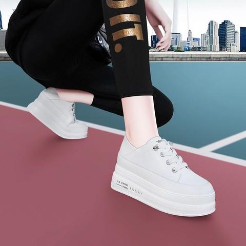 21新款松糕厚底增高轻便板鞋内增高休闲小白鞋女鞋