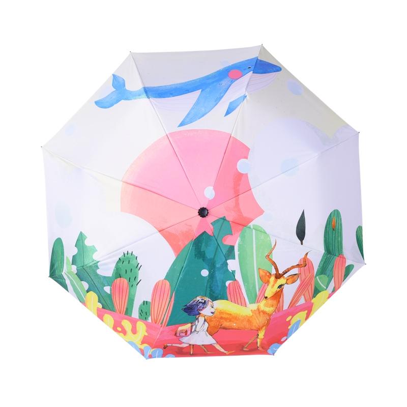 羚羊早安 手绘插画晴雨伞 93cm