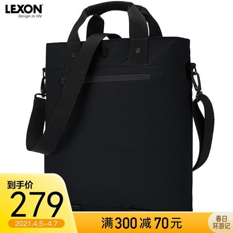 乐上 LEXON休闲手提包14英寸笔记本电脑包时尚单肩包斜跨包轻便商务竖款公文包 2803黑色