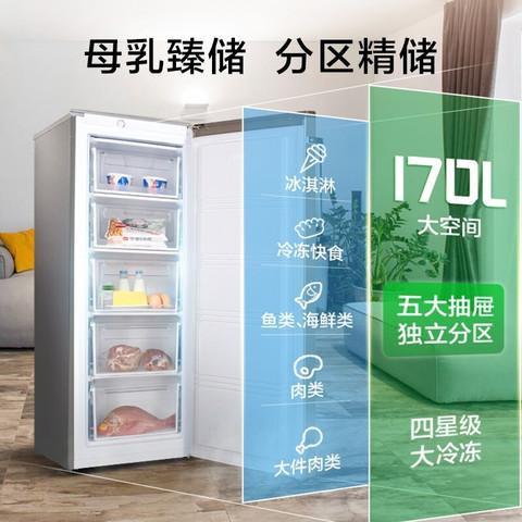 容声冰柜家用小型节能冷藏展示柜抽屉式冷柜商用单门冰箱保鲜柜立式速冻低燥 BD-170KE