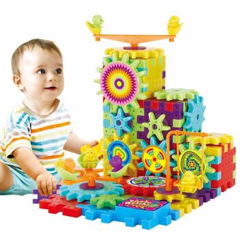 拥抱熊 早教婴儿玩具 拼装82块电动积木