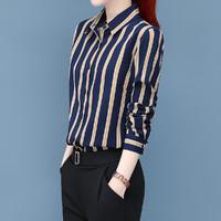 GOLDPOOL 高尔普 秋季新款时尚舒适条纹翻领女装休闲长袖衬衣女士衬衫