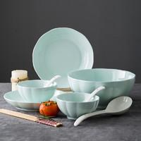 尚行知是 青瓷餐创意陶瓷碗盘碗筷组合 青南瓜 10件套