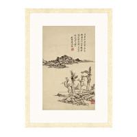 雅昌 王原祁《溪岸图》55×75cm 装饰画 宣纸
