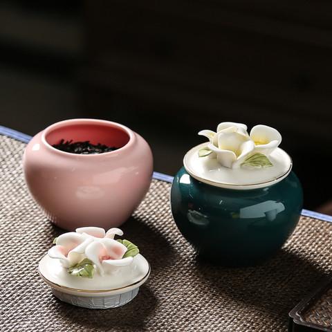 厨什汇 陶瓷手工捏花茶叶罐