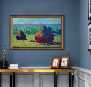 莫奈《草垛·深夏》72×47cm 装饰画 油画布