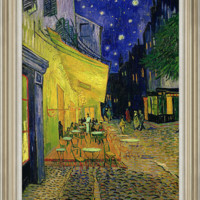 橙舍 梵高《星空下的咖啡厅》70*60cm 装饰画 油画布