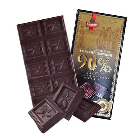 俄罗斯进口斯巴达克牌黑巧克力72% 90%可可含量黑巧苦巧纯可可运动代餐饱腹网红零食品 斯巴达克90%精英巧克力