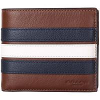 COACH 蔻驰 男士皮质短款钱包 F24649 N3D 棕色彩条